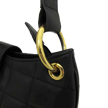 MCM(엠씨엠) 블랙 레더 퀄팅 금장 로고장식 호보 숄더백 [부천 현대점]