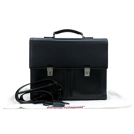 Ferragamo(페라가모) 24 7506 블랙 레더 투포켓 남성용 서류 가방 토트백 + 숄더 스트랩