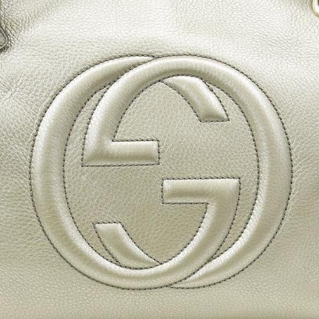 Gucci(구찌) 308982 크루즈 라인 인터로킹 로고 메탈릭 레더 SOHO(소호) 골드 메탈 태슬 체인 숄더백