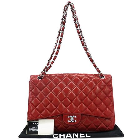 Chanel(샤넬) 레드 램스킨 클래식 맥시 사이즈 은장 체인 숄더백