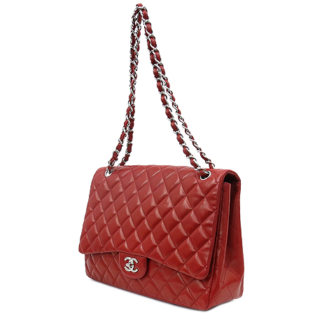 Chanel(샤넬) 레드 램스킨 클래식 맥시 사이즈 은장 체인 숄더백 이미지3 - 고이비토 중고명품