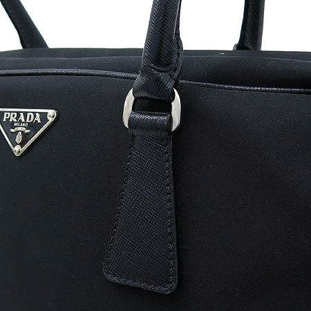 Prada(프라다) 블랙 패브릭 사피아노 레더 트리밍 숄더백