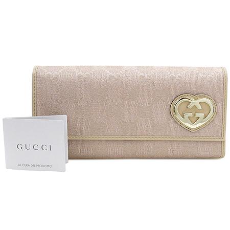Gucci(구찌) 245728 금장 로고 장식 GG로고 핑크 자가드 장지갑