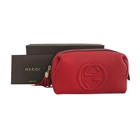 Gucci(구찌) 308636 레드 레더 GG로고 테슬 장식 파우치