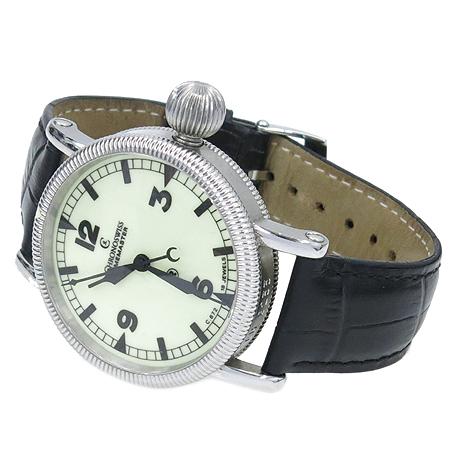CHRONOSWISS (크로노스위스) CH6233 TIMEMASTER (타임마스터) 시스루백 수동 가죽밴드 남성용 시계