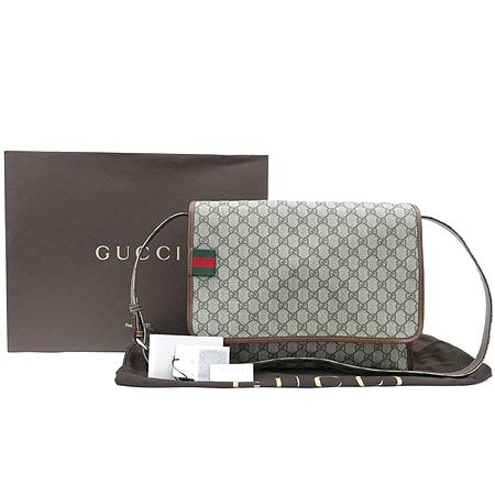 Gucci(구찌) 246411 GG로고 PVC 브라운레더 트리밍 슈프림 메신저 크로스백