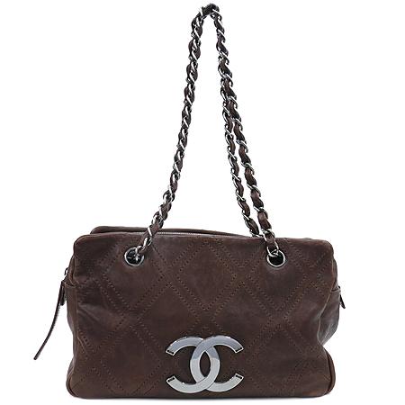 Chanel(샤넬) 브라운레더 스티치 정방 은장로고 체인 숄더백