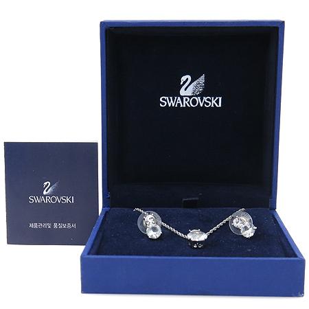 Swarovski(스와로브스키) 1807339 크리스탈 로고 장식 목걸이 + 귀걸이 SET