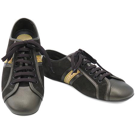 Louis Vuitton(루이비통) 다크 브라운 스웨이드 로고 카우하이드 디테일 스니커즈