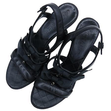 Chanel(샤넬) 블랙 더블 리본 장식 여성용 샌들 [압구정매장]
