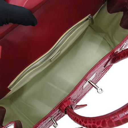 COLOMBO(콜롬보) CB07002B/RS83 크로크다일 레드 페이던트 은장 락 장식 벌킨34 토트백 이미지7 - 고이비토 중고명품