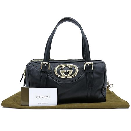 Gucci(구찌) 170009 블랙레더 금장로고 보스톤 토트백