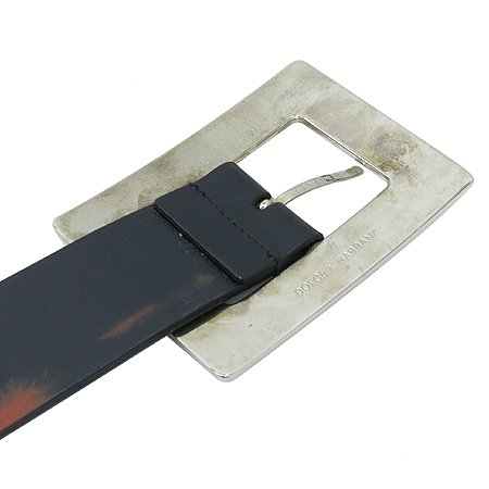 D&G(돌체&가바나) 스틸 스퀘어 버클 블랙 레더 남성용 벨트