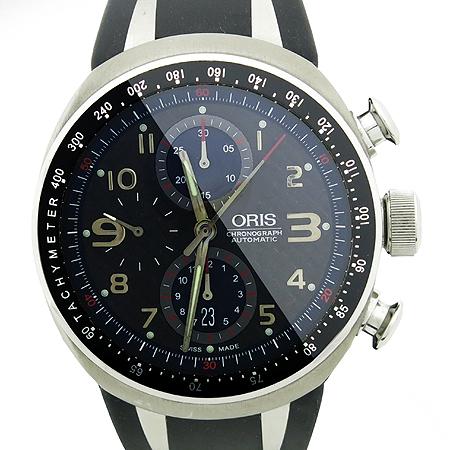 ORIS(오리스) 674 7584 7264 다이버 크로노그래프 시스루백 러버밴드 오토매틱 남성용 시계
