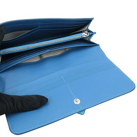 Tod's(토즈) 은장 로고 장식 블루 레더 장지갑 [압구정매장]