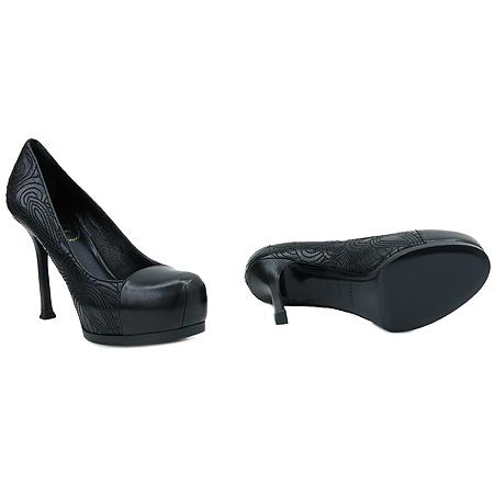 YSL(입생로랑) 275506 페이즐리 블랙 레더 가보시 여성용 구두 [압구정매장] 이미지3 - 고이비토 중고명품