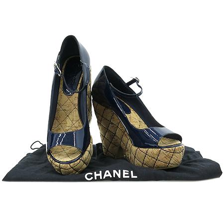 Chanel(샤넬) 오픈토 퀼팅 페이던트 웨지힐 여성용 구두 [압구정매장]