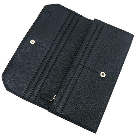 Aigner(아이그너) 블랙 레더 금장 로고 장식 장지갑
