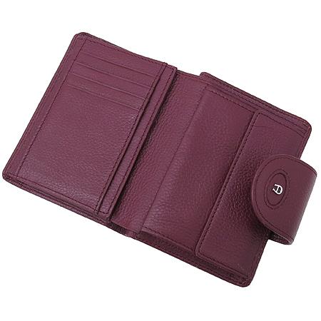 Aigner(아이그너) 버건디 레더 은장 로고 장식 중지갑 이미지4 - 고이비토 중고명품