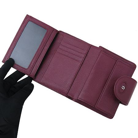 Aigner(아이그너) 버건디 레더 은장 로고 장식 중지갑 이미지5 - 고이비토 중고명품