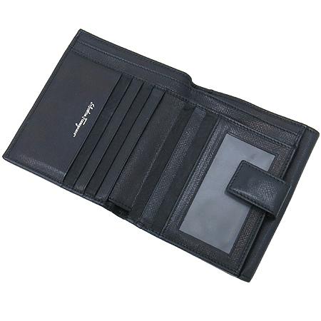 Ferragamo(페라가모) 22 4639 블랙 레더 은장 간치노 장식 반지갑