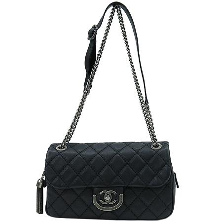 Chanel(샤넬) 은장 로고 블랙 램스킨 코코스포란 체인 숄더백