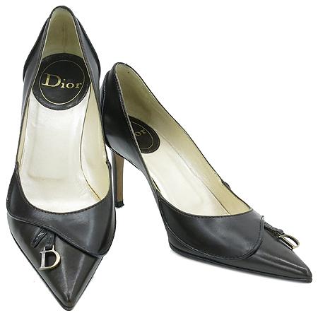Dior(크리스챤디올) 브라운 레더 D 로고 장식 여성용 펌프스 구두
