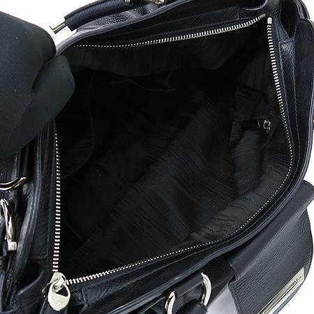 Ferragamo(페라가모) 21 B720 블랙 레더 은장 간치오 락 장식 토트백
