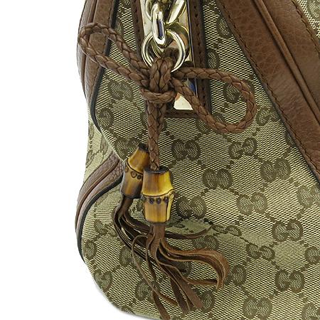 Gucci(구찌) 269949 GG로고 자가드 뱀부 테슬 위빙 장식 브라운 레더 트리밍 숄더백