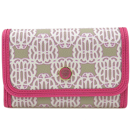 Bean Pole(빈폴) BE2ZA4C12X 금장 로고 장식 핑크 컬러 여성용 중지갑