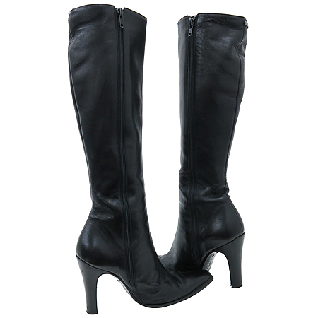Versace(베르사체) 블랙레더 은장로고 장식 여성용 롱 부츠