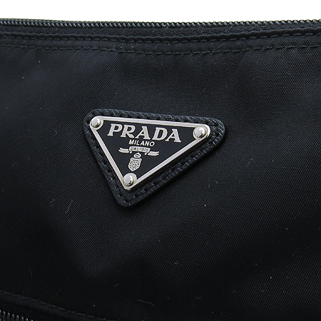 Prada(프라다) BT0715 TESSUTO NERO 블랙 패브릭 삼각로고 짚업 메신저 크로스백