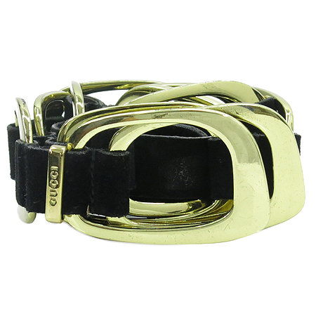 Gucci(구찌) 037 0394 금장 장식 블랙 스웨이드 여성용 벨트