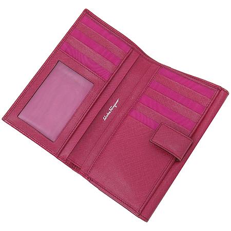 Ferragamo(페라가모) 22 4634 핑크 사피아노 간치노 은장로고 중지갑