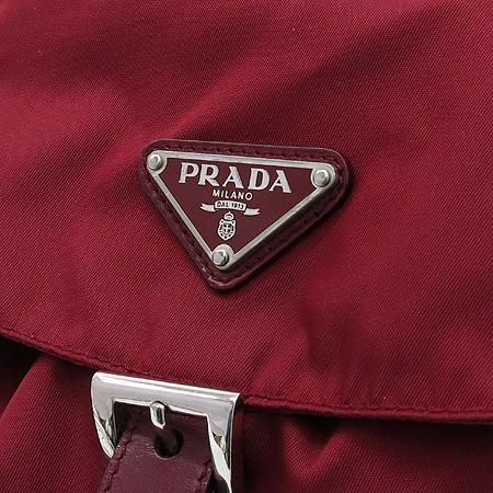 Prada(프라다) B6677 레드 패브릭 삼각로고 투 포켓 백팩