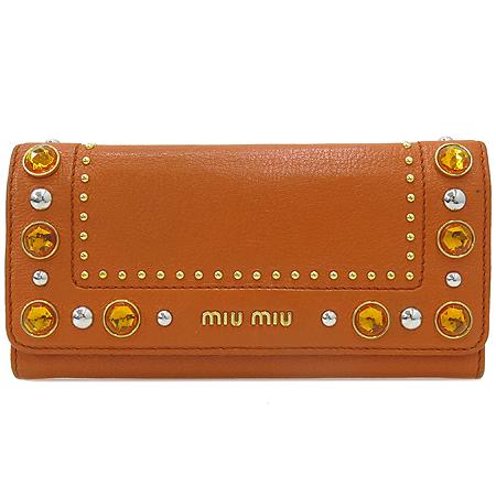 MiuMiu(미우미우) 크리스탈 장식 오렌지 컬러 레더 장지갑 [부산센텀본점]