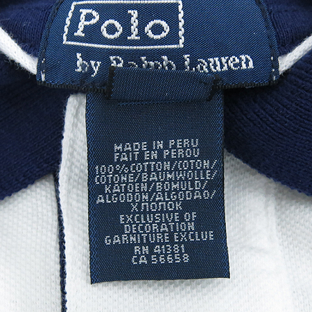 Polo Ralphlauren(폴로) 아동용 화이트, 네이비컬러 카라 반팔 티
