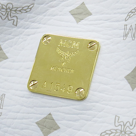 MCM(엠씨엠) 골드 메탈 비세토스 로고 화이트 레더 숄더백 이미지4 - 고이비토 중고명품