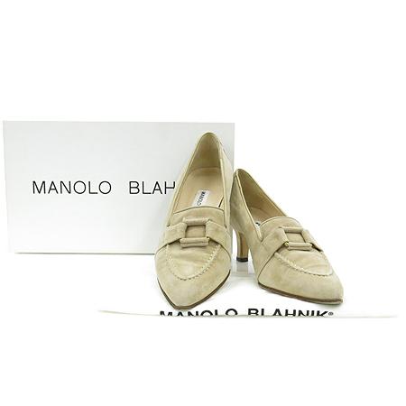 MANOLO BLAHNIK(마놀로 블라닉) GIADADA A/BULGARO 810 베이지 스웨이드 레더 펌프스 여성 구두