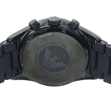 Armani(아르마니) AR5889 블랙 라운드 크로노 그래프 러버 밴드 남성용 시계