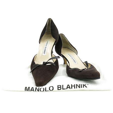 MANOLO BLAHNIK(마놀로 블라닉) 리본 장식 브라운 스웨이드 레더 펌프스 여성 구두