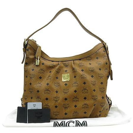 MCM(엠씨엠) 1010099040122 비세토스 브라운 금장로고 호보 숄더백