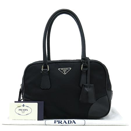 Prada(프라다) B10764 블랙 레더 트리밍 페브릭 볼링 토트백