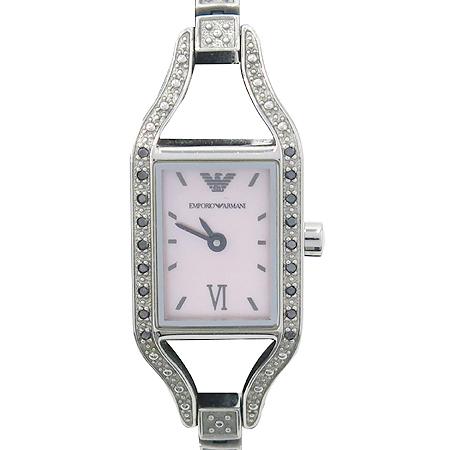 Armani(아르마니) AR3134 스퀘어 장식 핑크 자개판 팔찌형 여성 시계