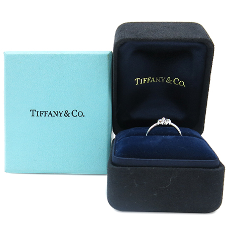 Tiffany(티파니) PT950(플래티늄 골드) 4포인트다이아 클로버 밴드 링 반지