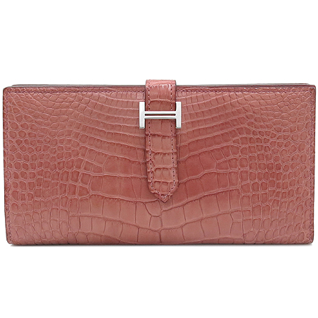 Hermes(에르메스) 은장 로고 크로커다일 베안 장지갑
