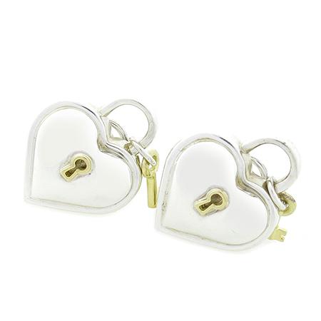 Tiffany(티파니) 18K 골드 키 & 925 실버 하트 자물쇠 콤비 집게형 귀걸이