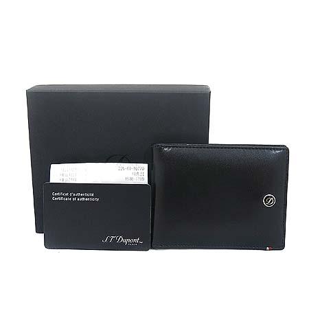 Dupont(듀퐁) CI180001은장 로고 장식 블랙 레더 머니클립 반지갑 [동대문점]