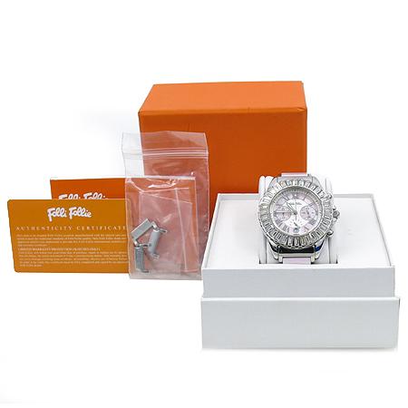 FOLLI FOLLI(폴리폴리) WF7A0198E 베젤 장식 라운드 스틸 여성용 시계 [강남본점]