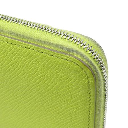 Hermes(에르메스) 아잡(AZAP) 수프레 라임컬러 레더 실크혼방 짚업 장지갑 [강남본점] 이미지2 - 고이비토 중고명품